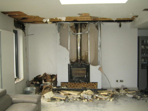 fire damage from stove flue